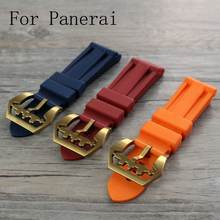 Новый 24 мм оранжевый синий красный водонепроницаемый силиконовый каучуковый ремешок, Ремешок для часов для PAM со специальным пряжки и логотип