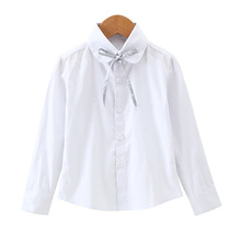 Girls Cotton Shirts For Children School Uniforms Long Sleeve Toddler Big Girls White Blouses New Autumn Bow Kids Clothes Tops new dew shoulder design clothes the horn sleeve beautiful stripe girls blouses