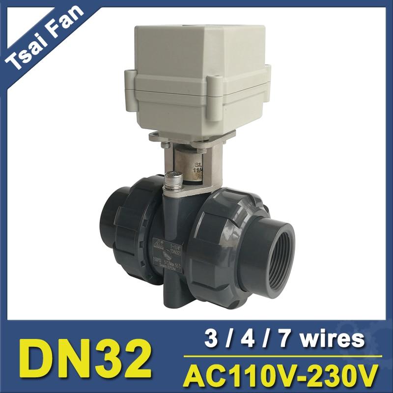 BSP/NPT 1-1/4'' UPVC Electirc Valve TF32-P2-C AC110-230V 2 Way DN32 Plastic Actuated Valve 10NM On/Off 15 Sec CE IP67 globe valve 2 way nc 1 1 4 in f npt