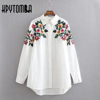 2017 Vintage Flower Embroidery Shirt Woman New Fashion Lapel Long Sleeve White Blouse Tops Cotton Blusas