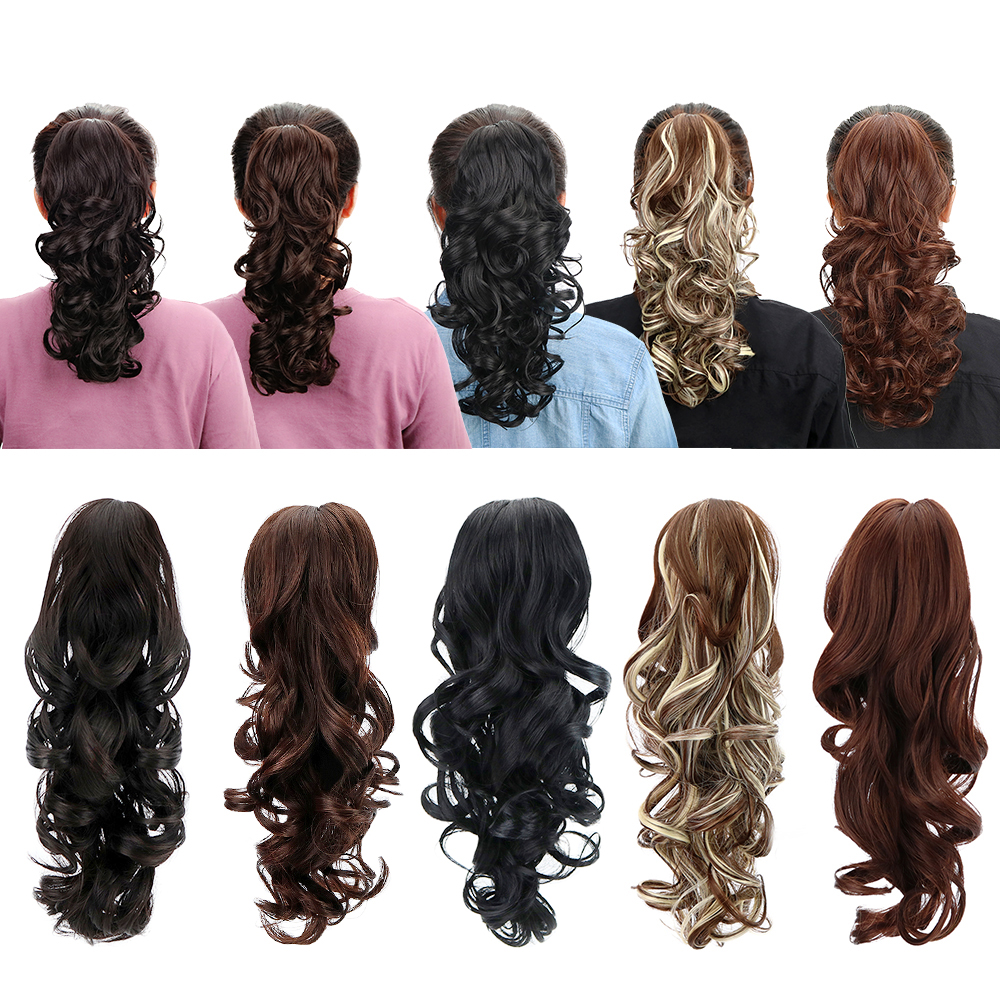 """15"""" Synthetic Claw Clip On Ponytail Extensions Hairpiece Long Curly Deep Wave Heat Resistant ..."""