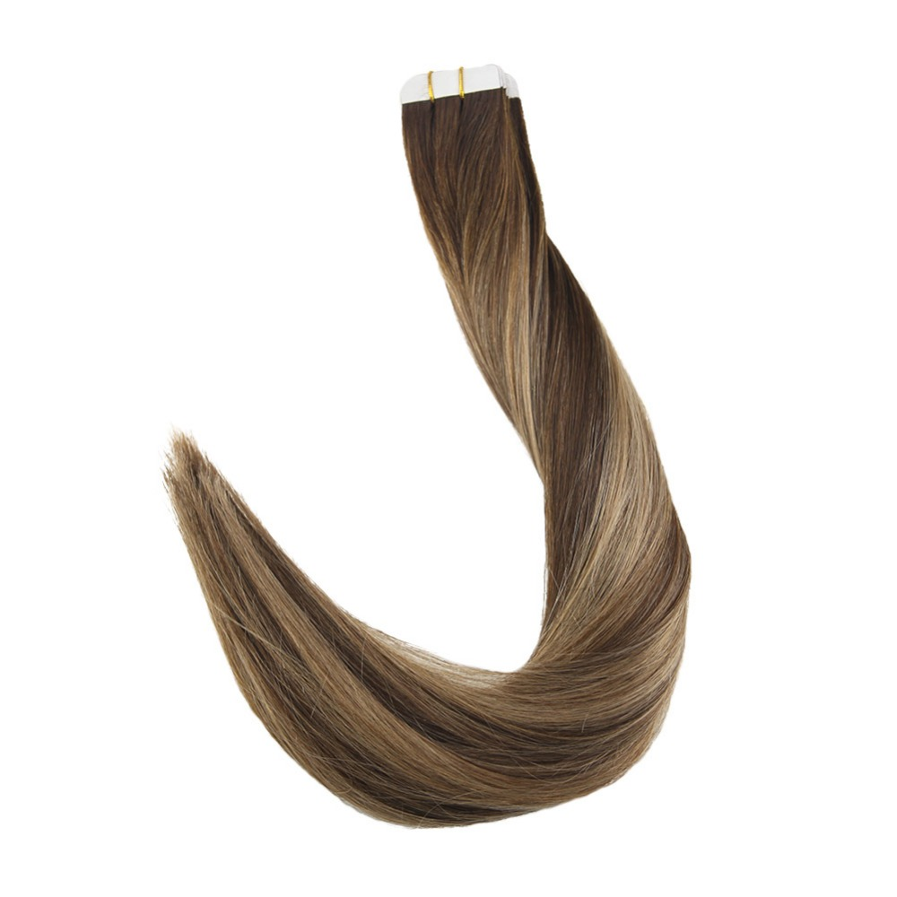 Full Shine Tape in Hair Extensions Human Hair Balayage Color 4 4 27 50g 20 Pieces