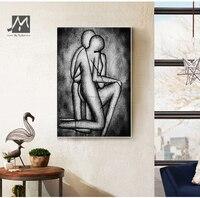 MUYA Abstract schilderen naakt sexy figuur schilderen handgeschilderde canvas schilderijen zwart-wit muur pictures voor slaapkamer