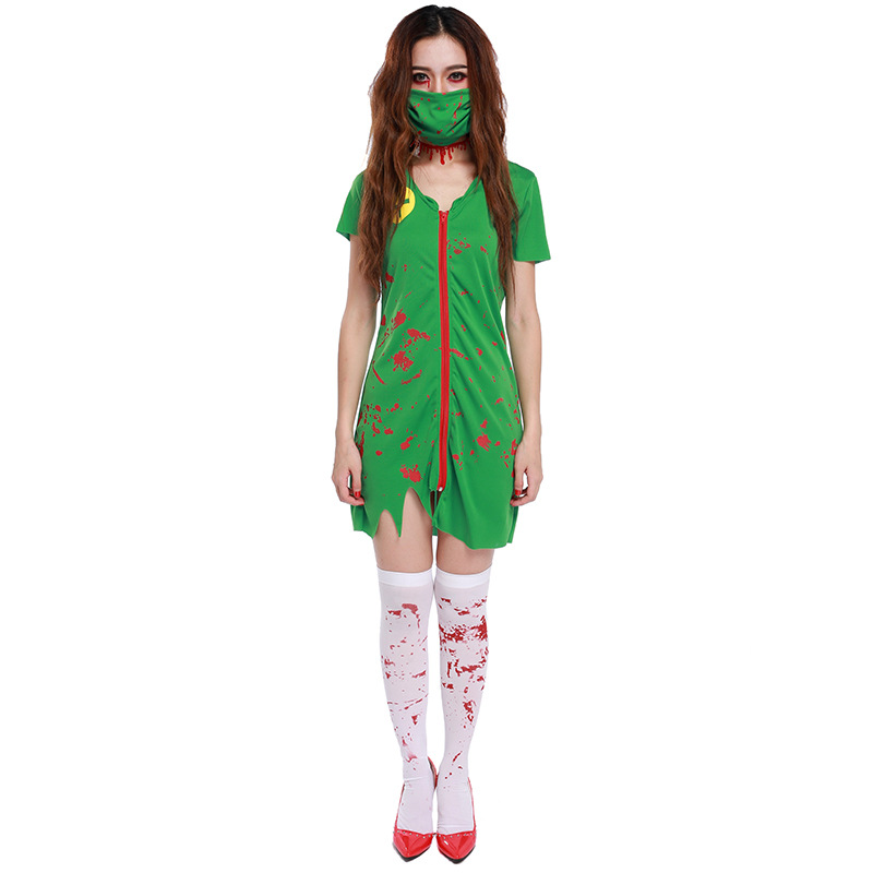Adult Zombie Scrub Nurse Women Scary Greeen Paramedic Halloween