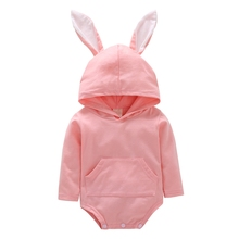 Baby Girls Long Sleeve Pink Rabbit Ears Hooded Rompers Fashion Jumpsuit Newborn Clothing