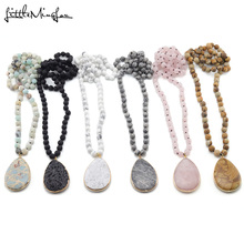 Little Minglou Matching Drop Pendant Necklaces Natural Stone beads Knotted Women Necklace for women Bohemian Jewelry