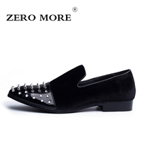 ZERO MORE New Fashion Rivet Mens Loafers Microfiber and Flock Pointed Toe Men Shoes High Quality Men Flat Shoes  #ZM101