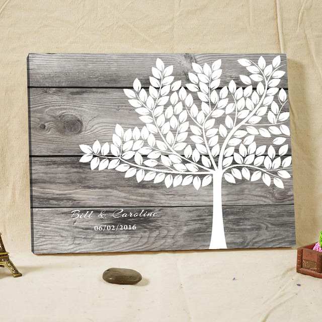 Personalized Wedding Guest Book Frame,Canvas Rustic Fingerprint Tree