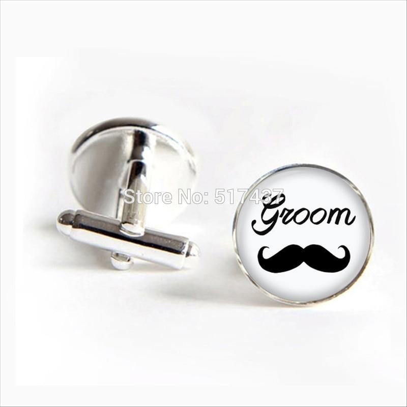 3 pairs2018   Glass Groom Cufflinks Moustache Groom Cuff link Jewelry Shirt Cufflinks For Men's