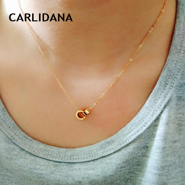Hot Women Necklaces Choker Necklaces For Women Gold Color Stainless Steel Necklace Double Circle Fashion Jewelry CARLIDANA
