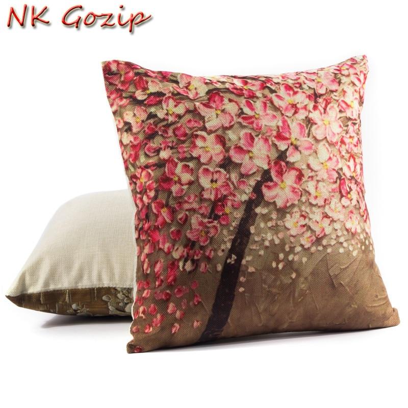 NK Gozip Algodón Lino Cintura Throw Funda de almohada Sofá Home - Organización y almacenamiento en la casa