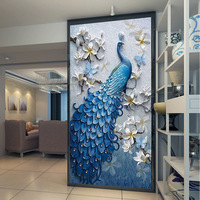 Custom size top grade PVC self adhesive or static cling decorative frosted privacy window film Retro decoration Blue Peacock