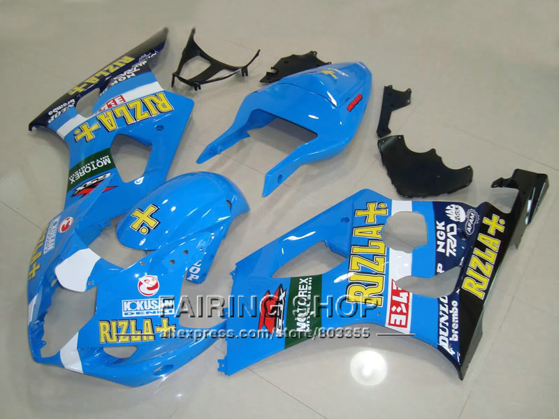 Aftermarket body parts fairings for Suzuki GSXR1000 2003 2004 yellow sticker sky blue injection fairing kit GSXR 1000 03 04 YI18