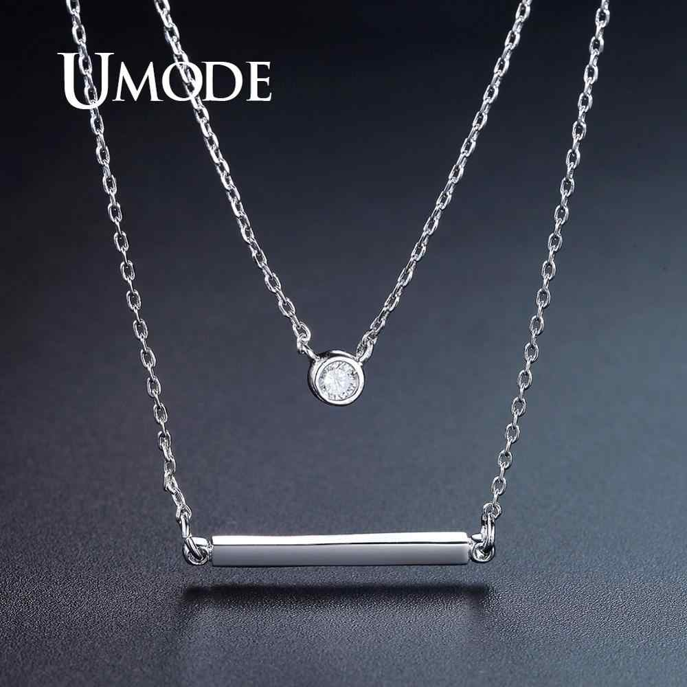UMODE Simple Layer White Gold Necklaces for Women Round Cubic Zirconia Pendants Geometric Fashion Jewelry New Design 2019 UN0266