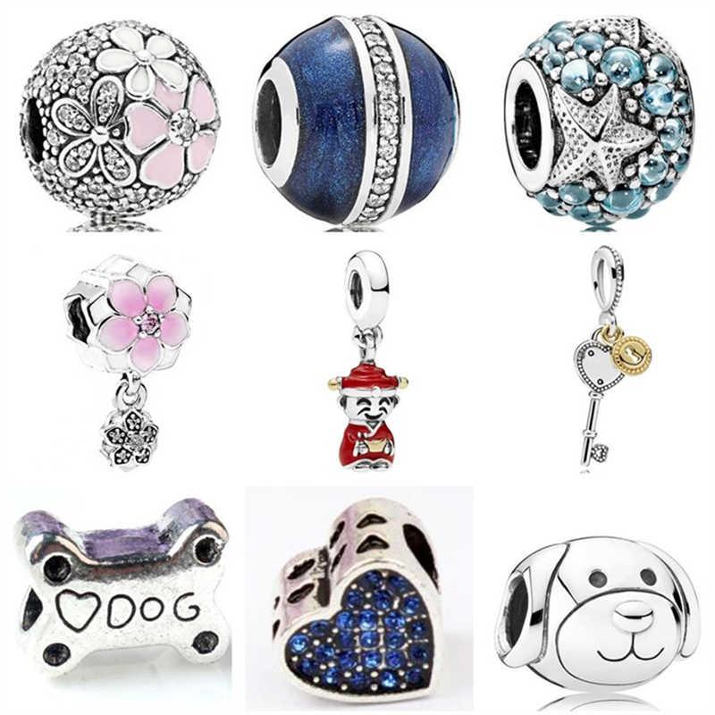 Btuamb europejskie małe oświadczenie kryształ Magnolia rozgwiazda Minnie wisiorek koraliki Fit Pandora Charm bransoletki dla kobiet DIY biżuteria