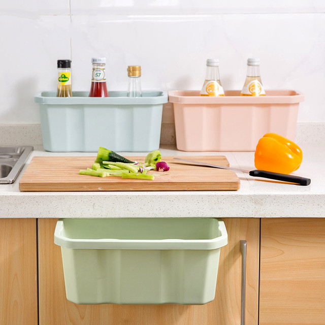 High Quality Kitchen Cabinet Trash Storage Box Organizers Garbage Holder Hang Type Can Free Shipping