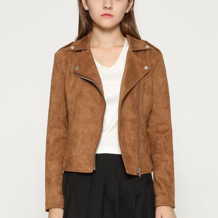European Design Fashion Retro Classic Female   Suede     Leather   Jacket Women Pink Brown Green Red Black Navy