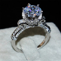 New Jewelry Crown Jewelry White Round 3ct 5A Zircon Stone Cz 925 Sterling Silver Engagement Wedding