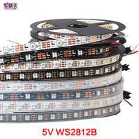 1 m/5 m DC5V direccionable individualmente ws2812b tira de luz led 30/60/144 píxeles, inteligente RGB led cinta ligera IP67 IP65 IP30