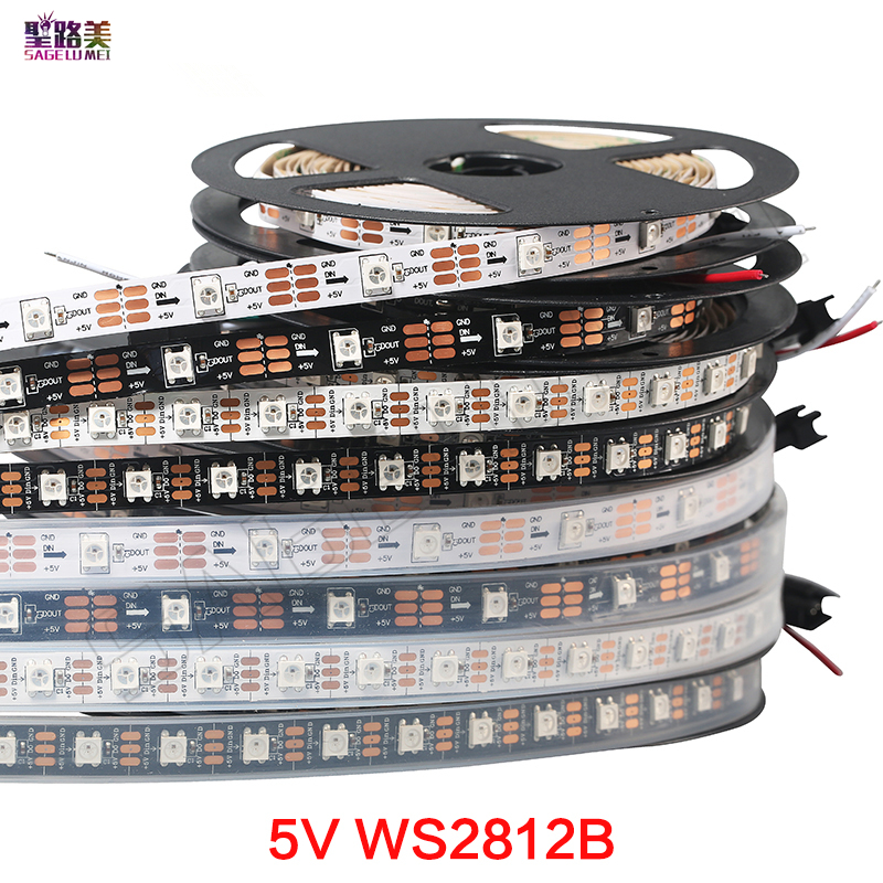 1m/5m <font><b>DC5V</b></font> individually addressable <font><b>ws2812b</b></font> led strip light 30/60/144 pixels, smart RGB led light tape ribbon IP67 IP65 IP30 image
