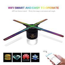 50 CM 4 fan holograma ventilador de luz con control wifi 3D holograma publicidad pantalla LED holográfica ventilador de aire de la imagen para el vacaciones tienda