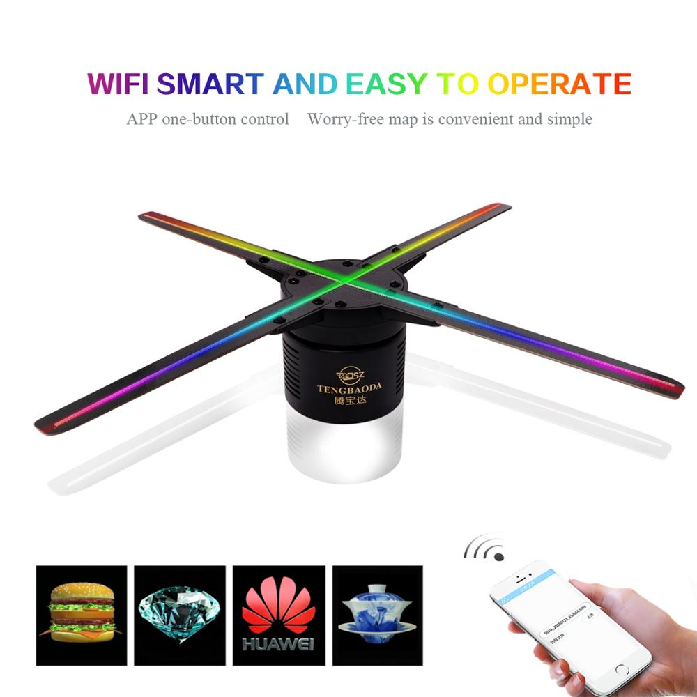 50CM 4 fan hologram fan light with wifi control 3D Hologram Advertising Display LED Holographic air fan Imaging for holiday shop image