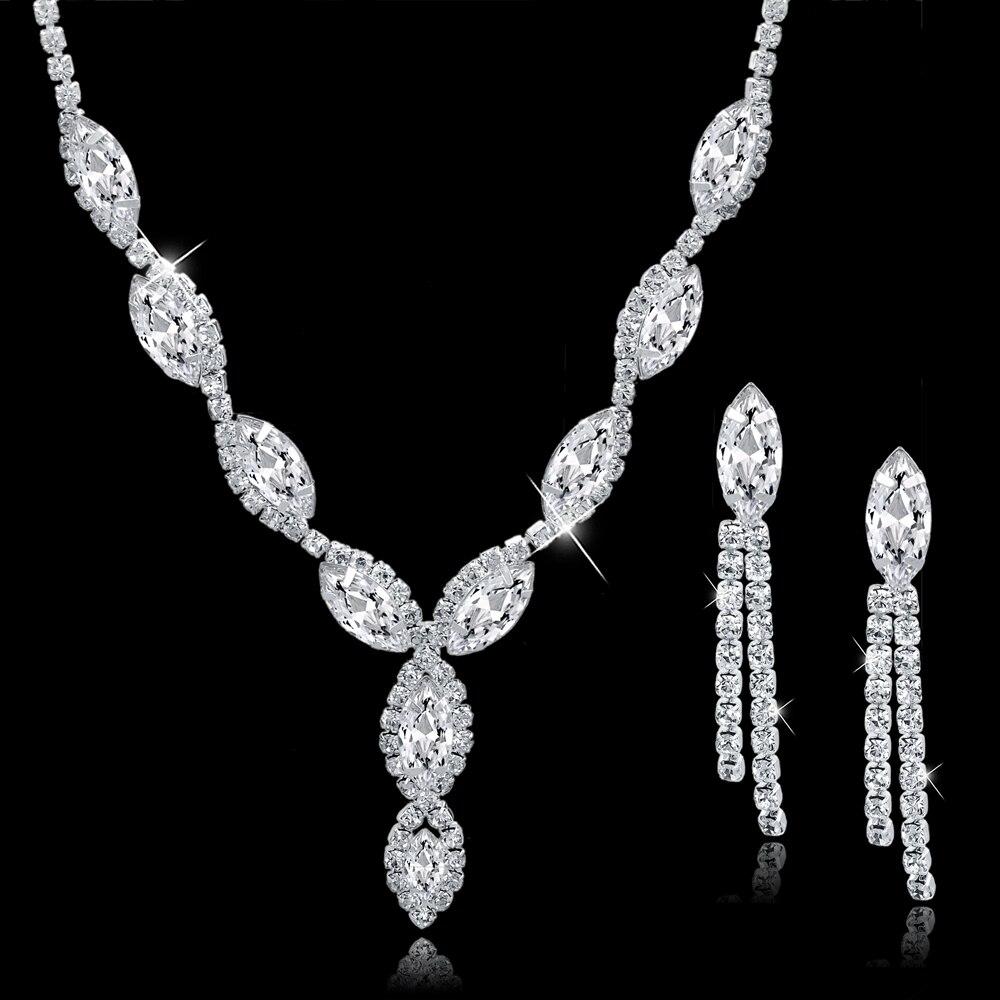 TOUCHEART Wedding Jewellery Set Crystal Bridal Jewelry Sets For Women Long Tassel Statement Necklace/Earrings Set SET150011 6