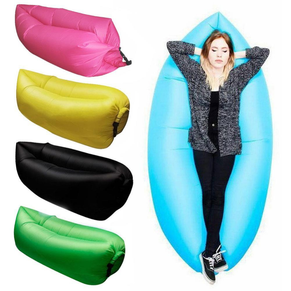 Air Bag Chair White Leather Office Lounge Sleep Lazy Inflatable Beanbag Sofa Chair, Living Room Bean Cushion, Outdoor Self ...