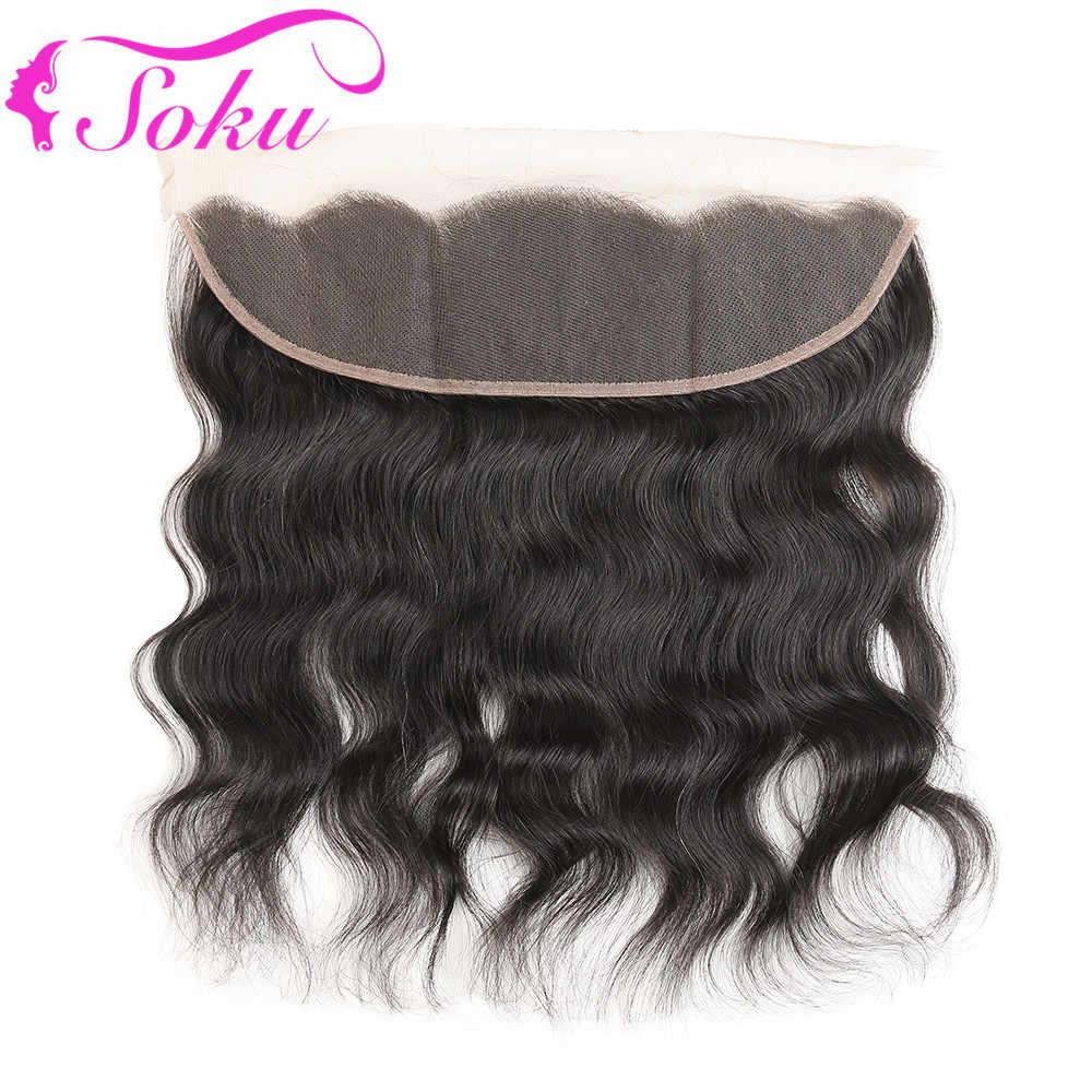 Бразильское натуральное вплетение 4 пучка с фронтальной SOKU Non-Remy человеческие волосы пучки ткет с 13*4 Кружева закрытие фронтальной