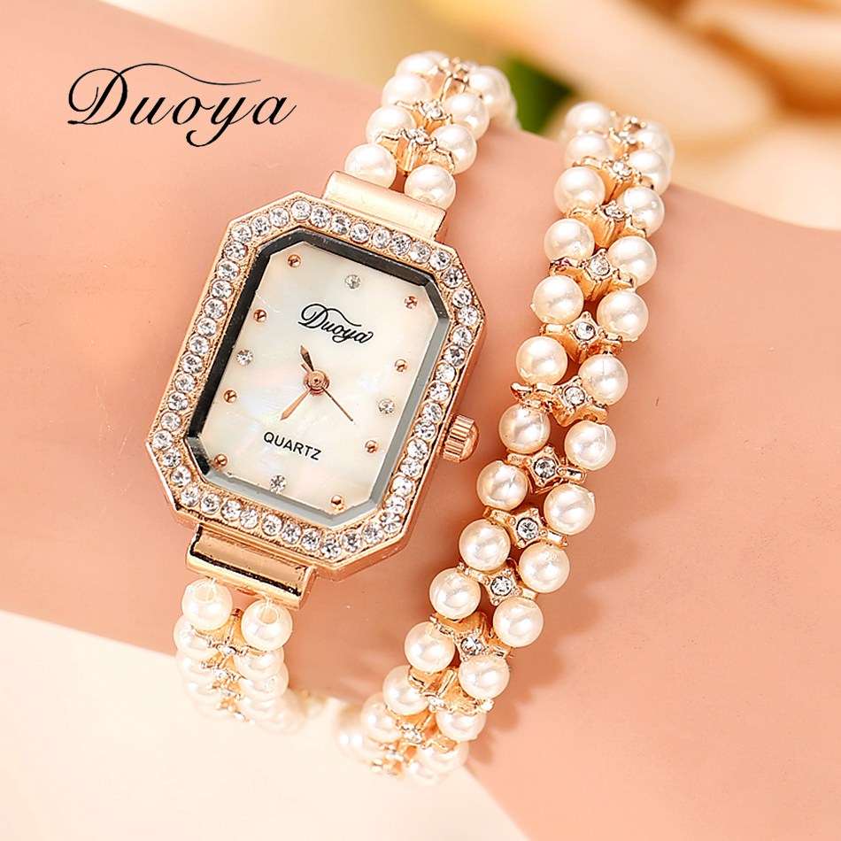 db5882b8f Duoya Brand Women Bracelet Watch Women Gold Pearl Jewelry Steel Wristwatch  Female Ladies Crystal Dress Casual