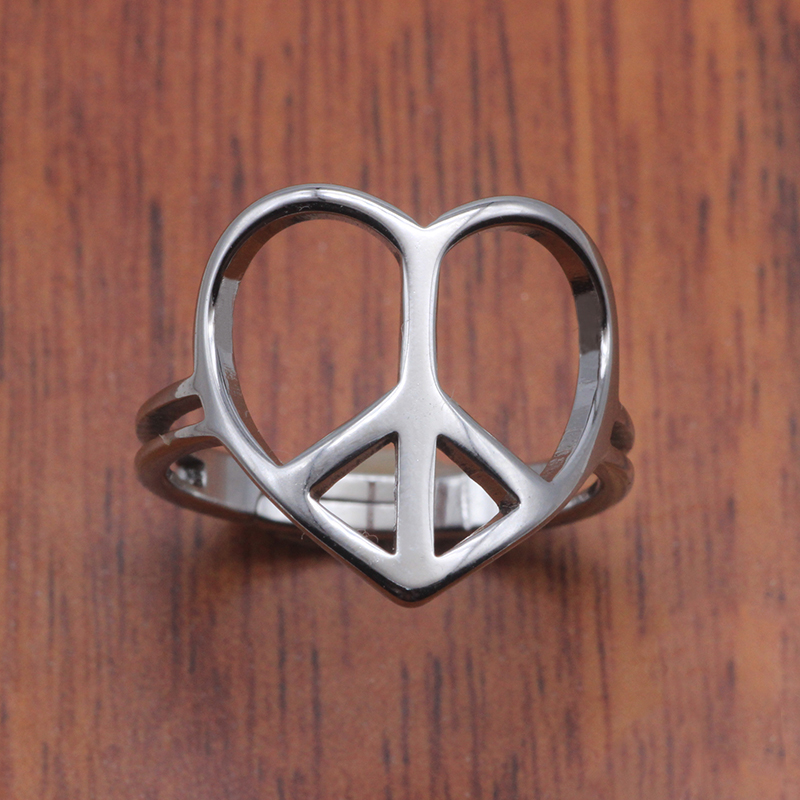 Peace Silver And Black Top Stainless Steel Mens Ring