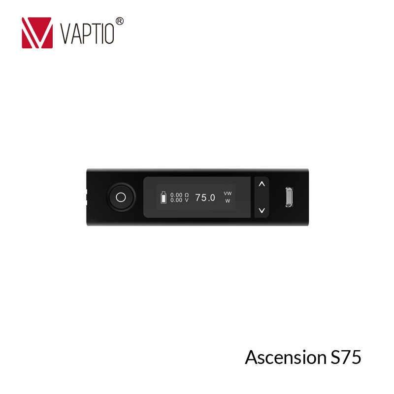 75W 18650 กล่อง Mod Kit Vaptio S75 อิเล็กทรอนิกส์บุหรี่ Vape ชุด 0.91 นิ้ว & 3.0 ml vape Vaporizer Atomizer