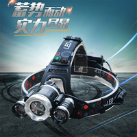 T6 LED Sensor torch hunting headlights glare USB charging zoom head three lamps riding bike helmet fishing lights