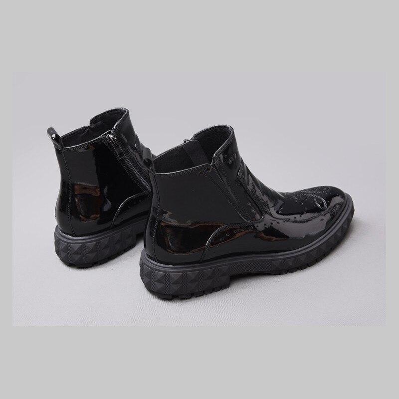 Europeo Pie Black Hombre Cuero Botas Puntiagudo Real Moda Cremallera Estilo Del Hombres Negro Los Plataforma 100 Martin De Zapatos Dedo Oxford pRqtnqd6xw