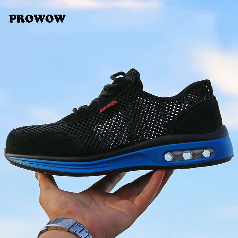 Protective shoes AIR breathable safety shoes men's Lightweight steel toe shoes anti-smashing piercing work Single work boots