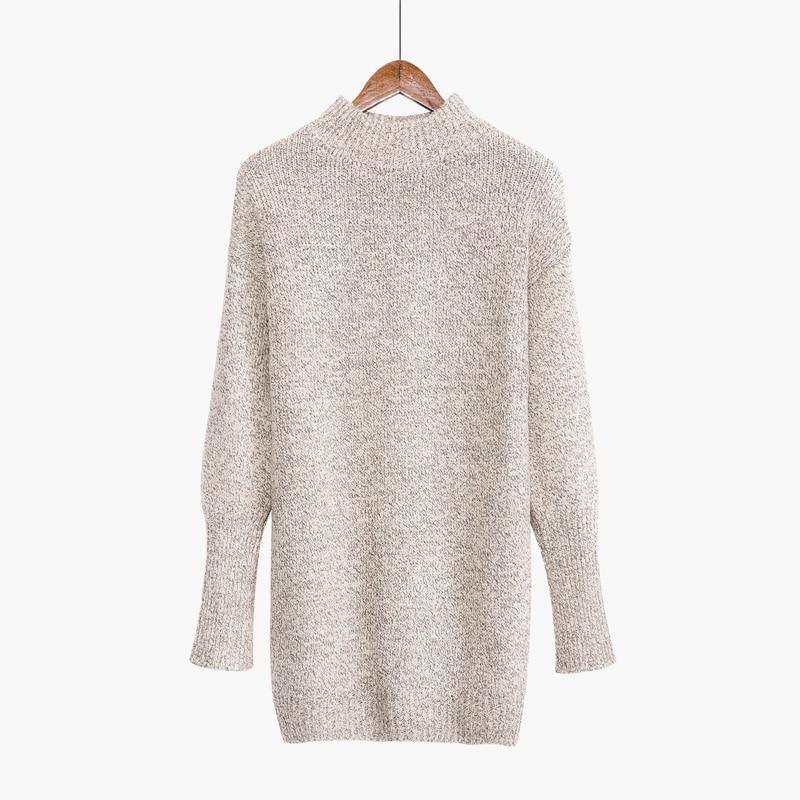 Versión coreana de la lana gruesa caliente semi-cuello alto camisa larga de punt