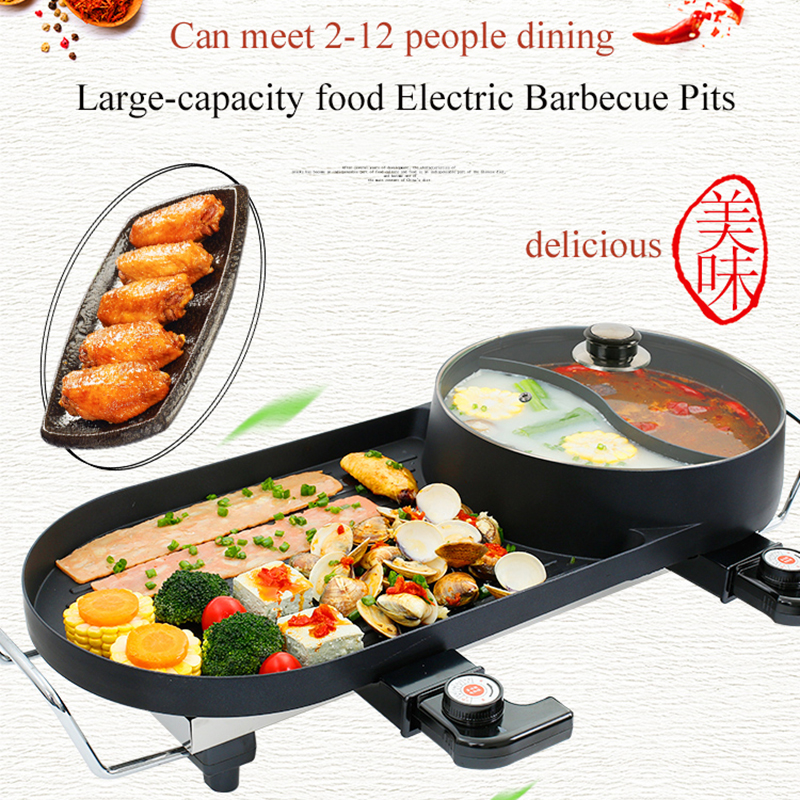 5 In 1 Multi Purpose Separation Pot Fryer Pan Non Stick Grill Fry Oven Meal Skillet Barbecue Plate Roasting Dropshipping