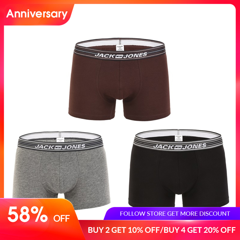 JackJones Men's Stretch Cotton Multi color Three pack Boxer Shorts Men's Underwear Breathable Underpants Male |219192516