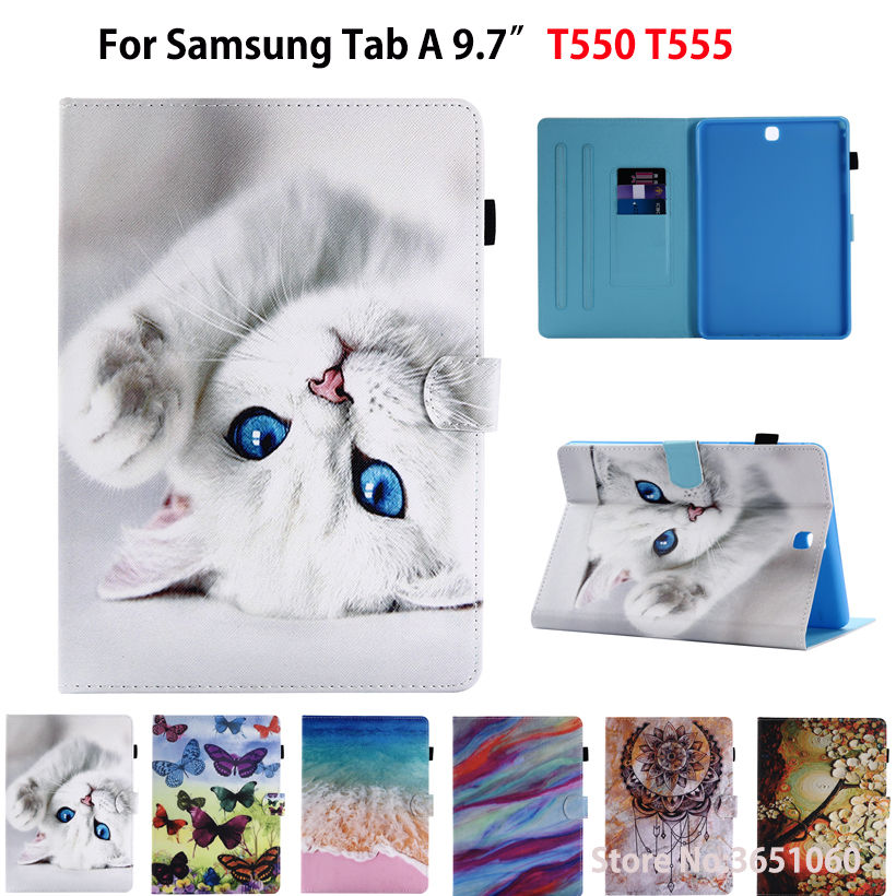 <font><b>SM</b></font>-<font><b>T550</b></font> Fashion Cat butterfly Painted <font><b>Case</b></font> For <font><b>Samsung</b></font> <font><b>Galaxy</b></font> <font><b>Tab</b></font> A 9.7 <font><b>SM</b></font>-T555 <font><b>T550</b></font> P555 Smart <font><b>Cover</b></font> Funda Tablet Stand Shell image