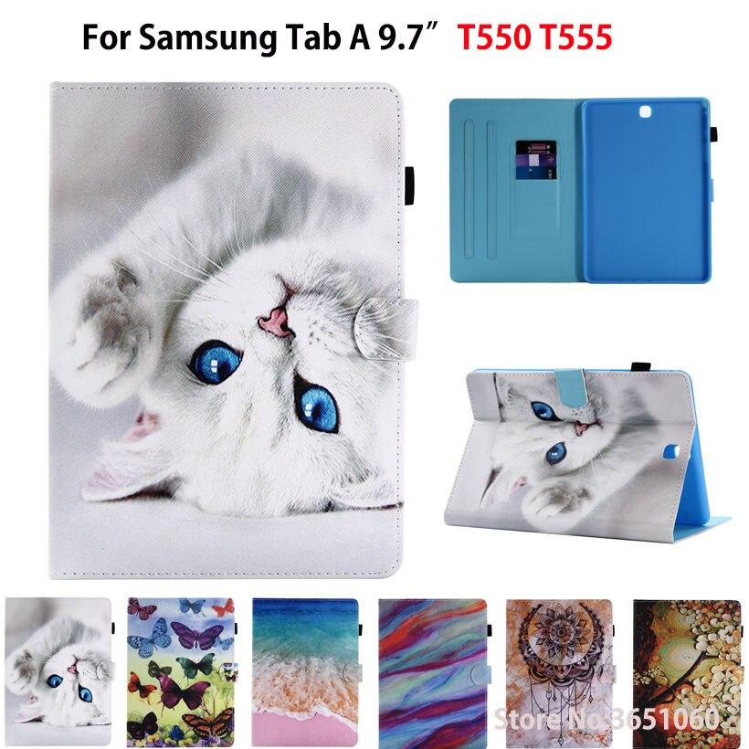 SM-T550 Mode Chat papillon Peint Cas Pour Samsung Galaxy Tab un 9.7 SM-T555 T550 P555 Smart Cover Funda Tablet Stand Shell
