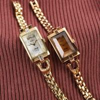 Korean Brand Rectangular Watch Fashion Watch Retro vintage Metal watchband Watch Chain Quartz Watch