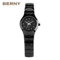BERNY Luxury White Womens Quartz Wristwatches Ceramic Womens Watch Black Bracelet Fashion Ladies Casual Waterproof Clock