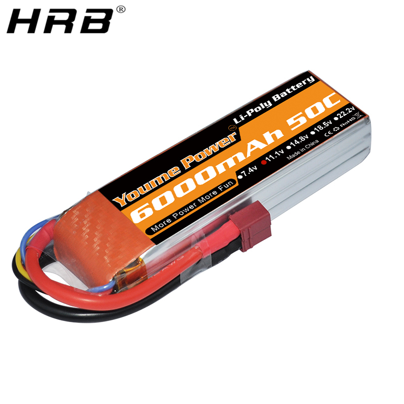 Youme <font><b>Lipo</b></font> <font><b>3S</b></font> <font><b>6000mah</b></font> Battery 11.1V T Deans XT60 XT90 EC2 EC5 EC3 RC Parts For Traxxas Off-Road TRX Cars Racing Airplanes Boats image