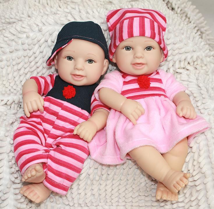 Silcicon Vinyl Doll Cute Twins Interactice Smile Baby Doll 28cm Soft