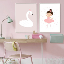 Painting Abstract Kawaii Pink Swan Cartoon Posters