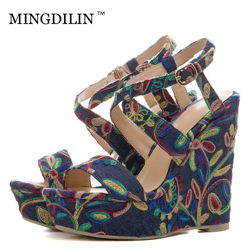 MINGDILIN Summer Women's High Heels Sandals Denim Platform Woman Heels Shoes Women's Embroider Wedges Sandals Zapatos Mujer Blue цена