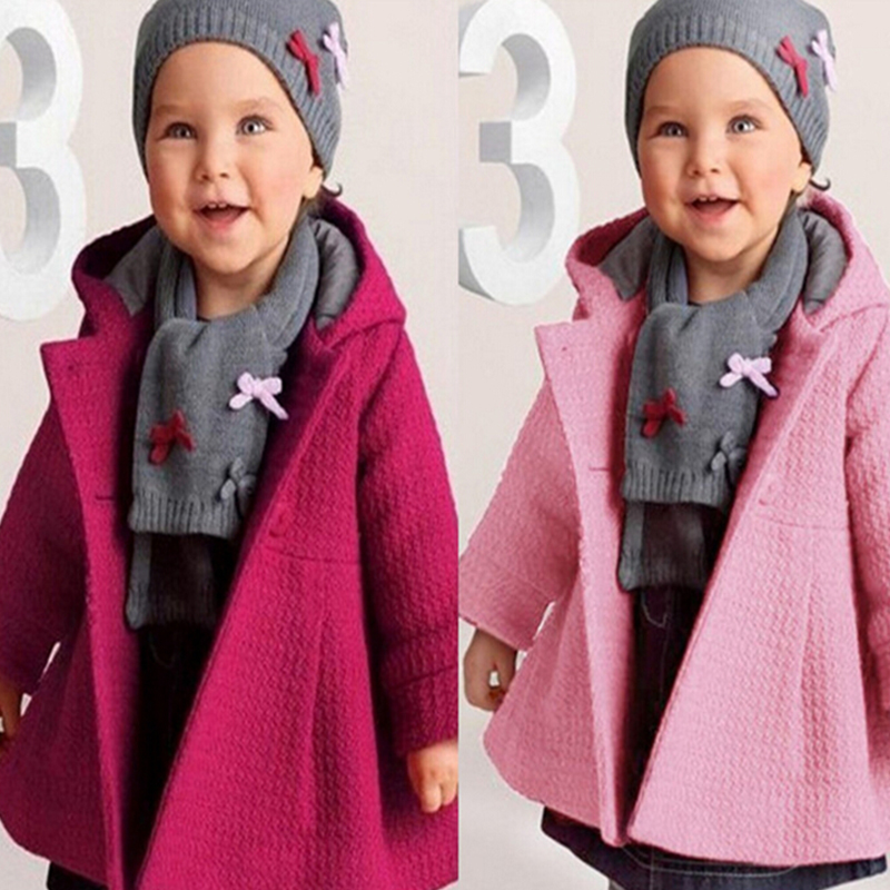 Cloth-Coats Outerwear Hooded Girls Winter Children for Pink/purple Figured