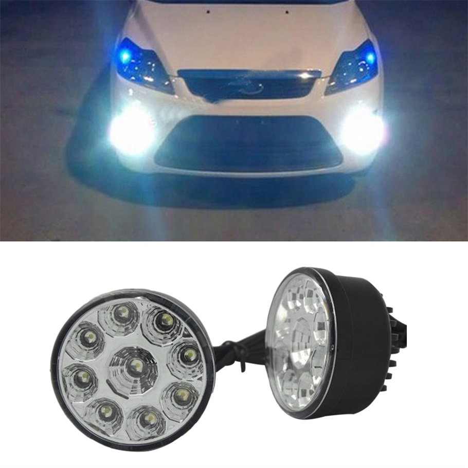 1 Pair 2PCS Bright White 9W LED Round Day Fog Light Head Lamp Car Auto DRL Driving Daytime Running DRL Car Fog Lamp Headlight  1 pair h3 headlight daytime running light white drl super bright led car headlamp head light lamp driving bulb auto fog lamp
