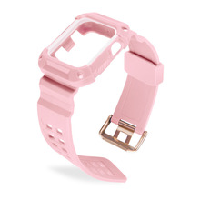 Dual-color Integrated TPU Rubber Watch Band 38mm Watch Strap With Soft Shock Absorption Protective Case For Apple Watch