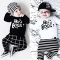 2016 new autumn baby girl clothes cotton long sleeve letter t-shirt+pants kids 2pcs suit baby boy clothing sets infant clothing